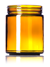 Nothing Found: 9 oz amber glass straight-sided round jar with 70-400 neck finish