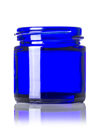 Nothing Found: 1 oz cobalt blue glass straight-sided round jar with 43-400 neck finish