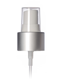 Nothing Found: Matte silver metal shell and white PP smooth skirt fine-mist fingertip sprayer with clear overcap, 6.875 inch dip tube and 24-410 neck finish (.16 cc output)